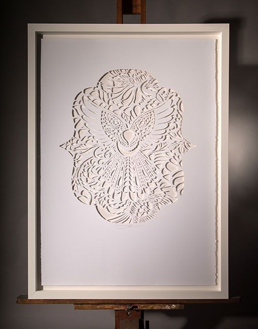 LACE FANTAIL IN THE CUT | Hand Cut: $2500 700mm x 1000mm Open Edition White Box Frame, Float Mount $400 | Flox.co.nz