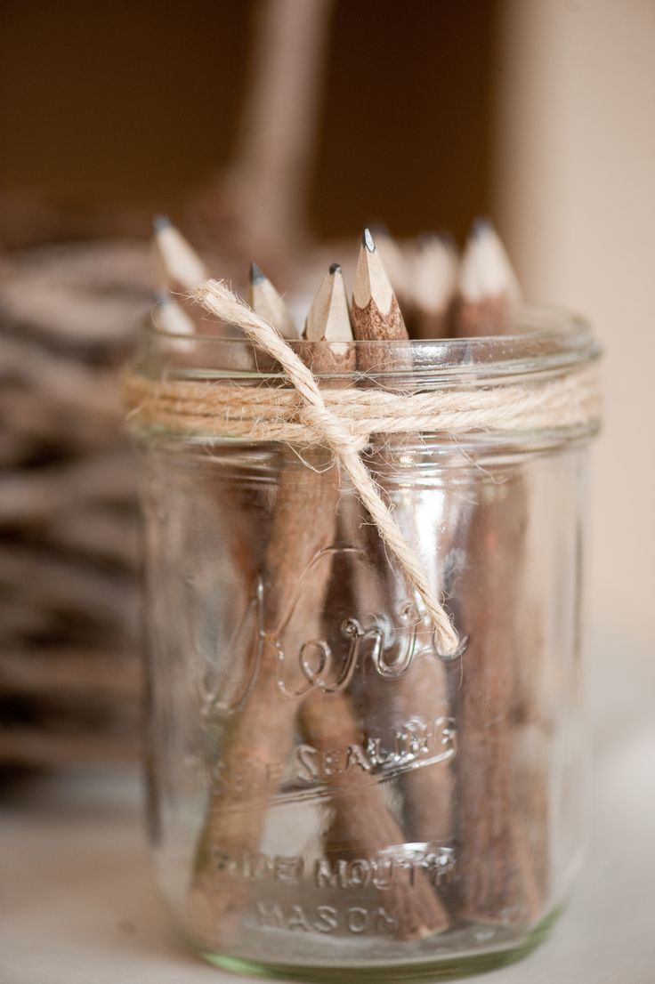 Wood Bark Branch Pencils to fill out guest book.