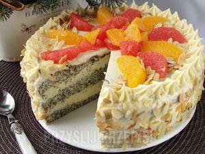 Tort makowo budyniowy z cytrusami