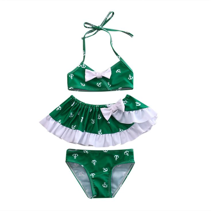 Baby Girl's 3 Piece Green & White Anchor Bikini Swimsuit