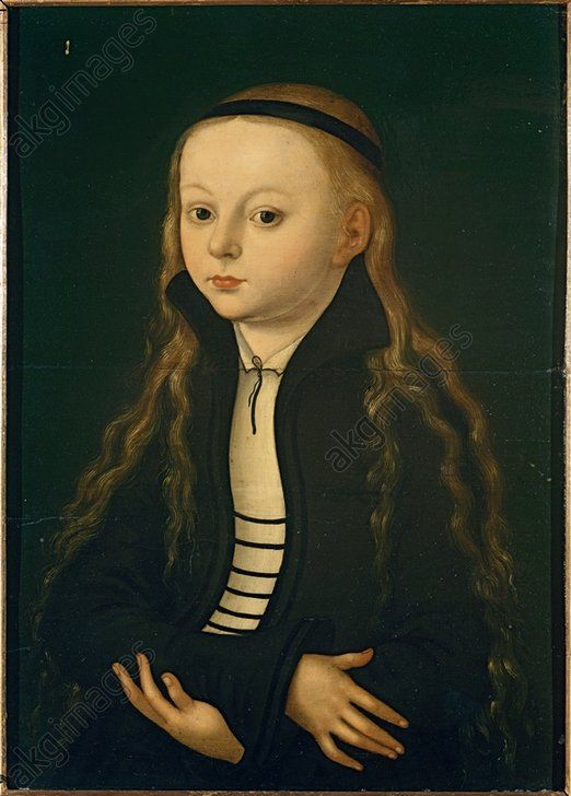 """Cranach, Lucas the Elder 1472–1553.  """"Portrait of a girl"""", c. 1520.  (According to old but unreliable tradition, this is a portrait of Martin Luther's daughter Magdalena, who was, however, only born in 1529). Oil on wood, 36.5 × 26cm."""