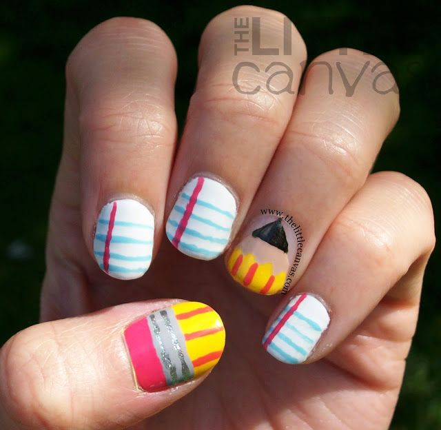 Back to School Nail Art - look at my board Nail Polish Tutorials/Education for a how to do each of these easy designs (well maybe the pencil might be a little challenging if you don't do tape designs well)