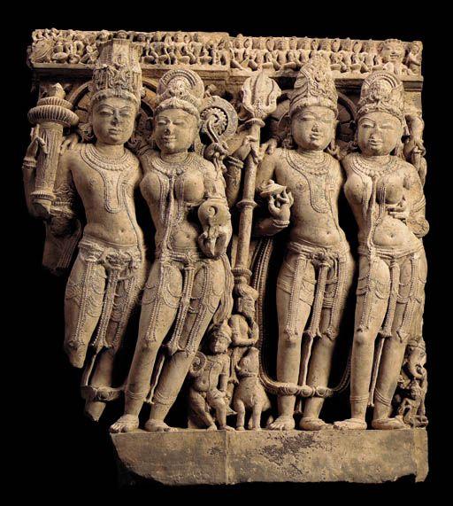 A Buff Sandstone Frieze of Vishnu, Lakshmi, Shiva and Parvati India, Uttar Pradesh, 10th Century
