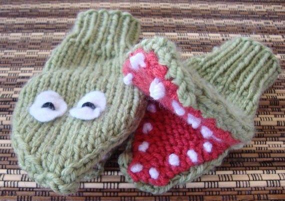 Crocodile Puppet Mittens hand knit featured by FuzzyFunkDesigns