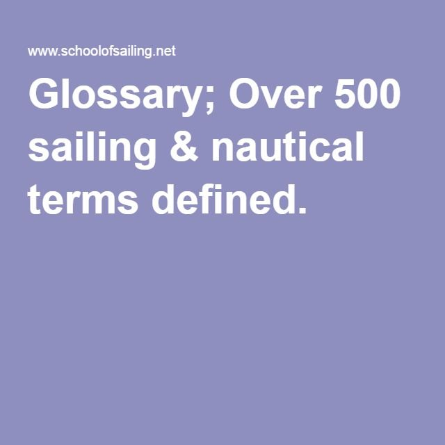 Glossary; Over 500 sailing & nautical terms defined.
