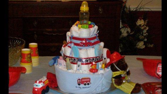 Firefighter Diaper Cake