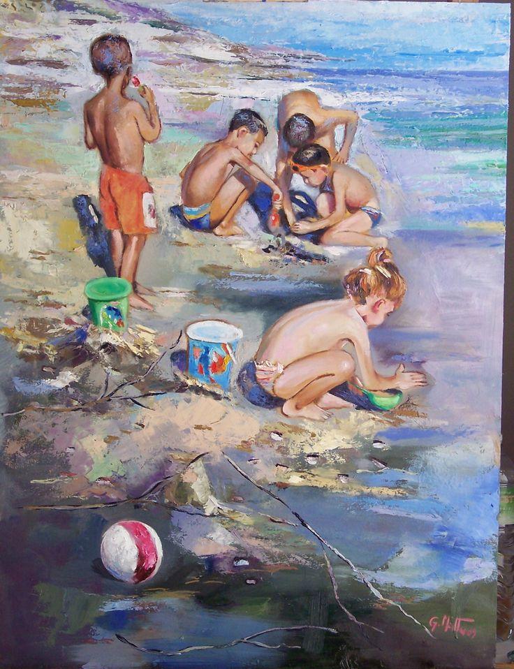 dipinto, giochi sulla spiaggia, olio su tela,80x60.