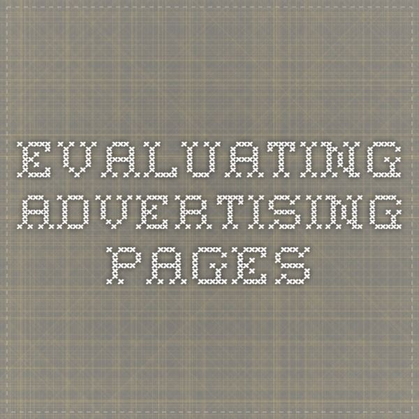 Evaluating advertising pages