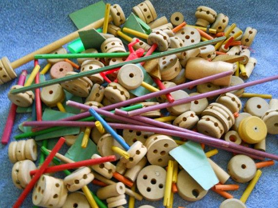 Tinker Toys For Boys : Vintage tinker toys wood childrens