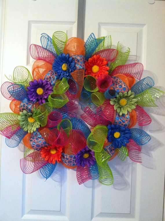Etsy listing at http://www.etsy.com/listing/129712180/summer-mesh-wreath