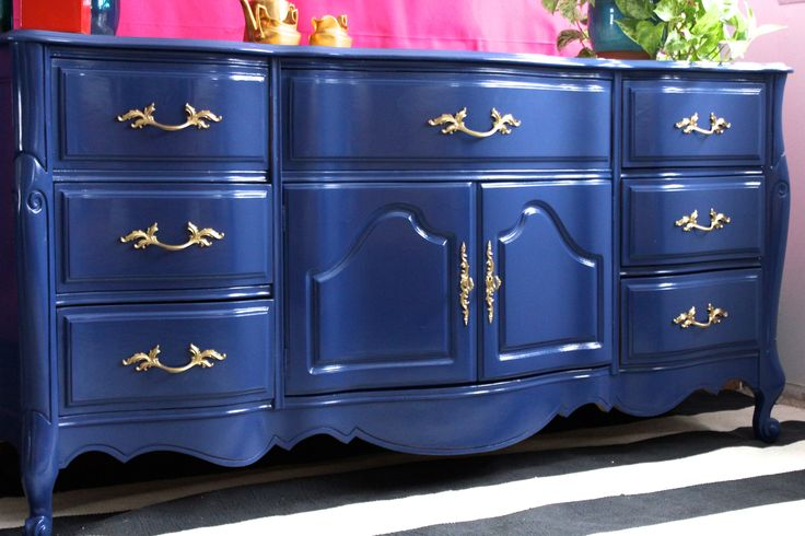 High Gloss Furniture Painted Furniture Painted Dresser Or Buffet Benjamin Moore Admiral Blue