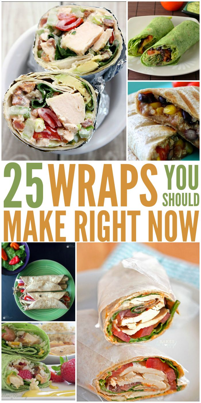 "A Variety of Wraps incl. Spinach.. ""Wrap Recipes You Need to Try"" #HealthyRecipes #EasyLunch #wraps"