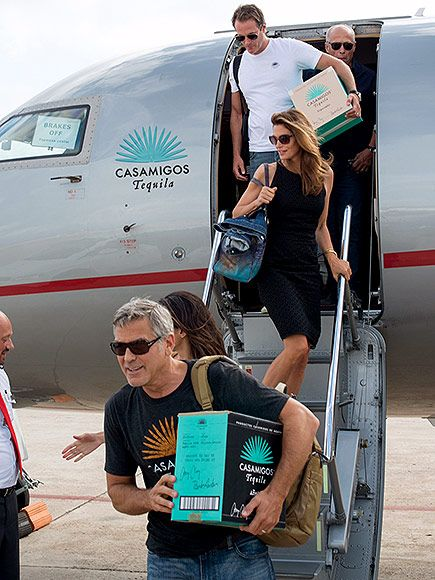 George and Amal Clooney Join Rande Gerber and Cindy Crawford in Ibiza for a Tequila-Related Work Trip| Amal Alamuddin, Cindy Crawford, George Clooney, Rande Gerber