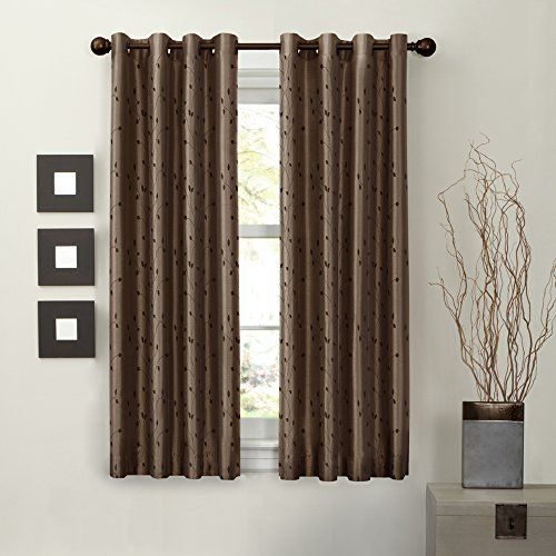 Maytex Mills Jardin Embroidered Thermal Window Curtain 54 by 63-Inch Mocha