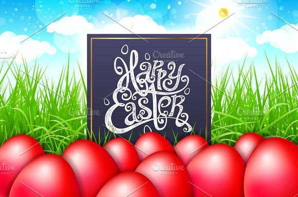happy easter. red egg. green grass by Rommeo79 on @creativemarket