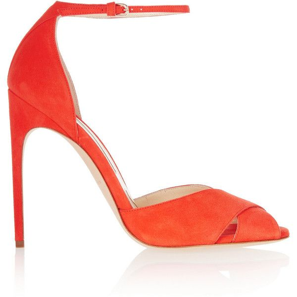 Brian Atwood Marissa suede sandals ($710) ❤ liked on Polyvore featuring shoes, sandals, heels, brian atwood, bright orange, ankle wrap sandals, strappy heel sandals, strap sandals, ankle strap sandals and orange high heel sandals