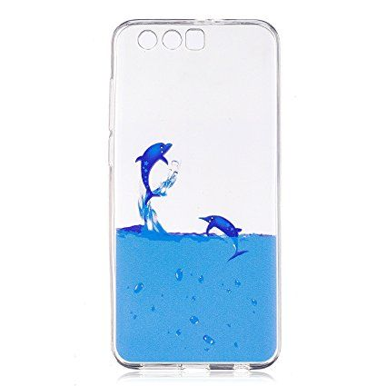 Huawei Honor 9 Case, Huawei Honor 9 Transparent Soft Case - Cozy Hut [Anti-Scratch] [Anti-Slip] [Ultra-Thin] [Supports Wireless Charging] 3D 2017 New Design Cute Pattern Design Slim Fit Cartoon Stylish Pattern Flexible Full-body Textured Protective TPU Silicone Back Rubber Bumper Drop Resistant Cover For Apple Huawei Honor 9 - Dolphin
