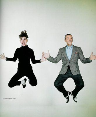 This is a fun picture of Audrey Hepburn and Fred Astaire. Makes me want to kick up my heels and dance!