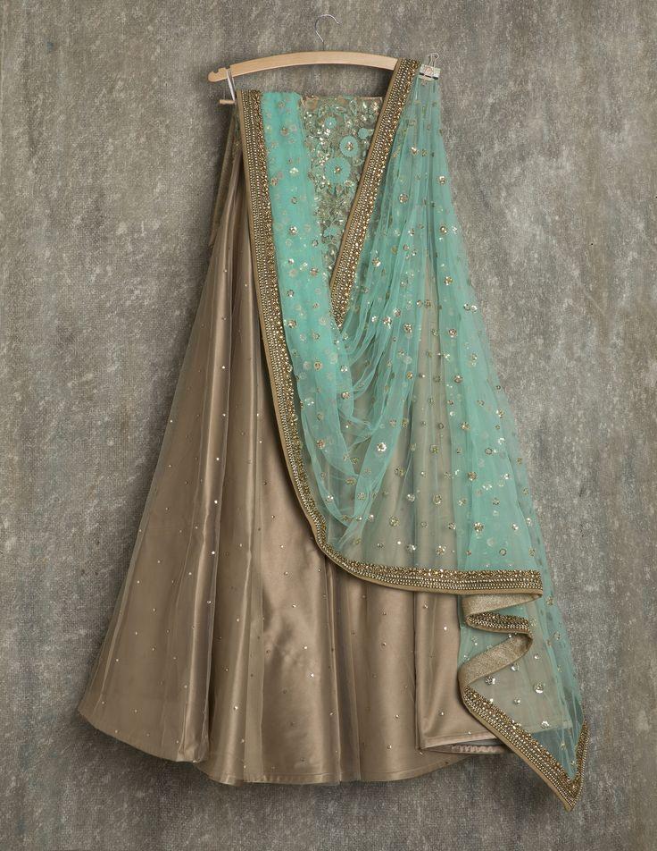 SwatiManish Lehengas SMF LEH 129 17 Sandstone lehenga with sky dupatta and blue threadwork and sequin blouse