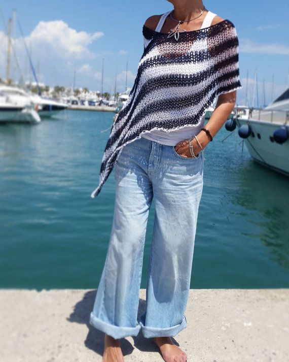 Top marinero rayas, poncho estilo marinero, poncho de verano, top de punto rayas, poncho de algodón, top de playa