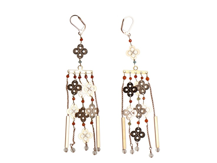 Titti Peggy earrings in pink brass with small pendant and semi-precious stone. Designed and made in Italy.