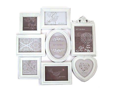Cornice multipla da parete in plastica Heart bianchi