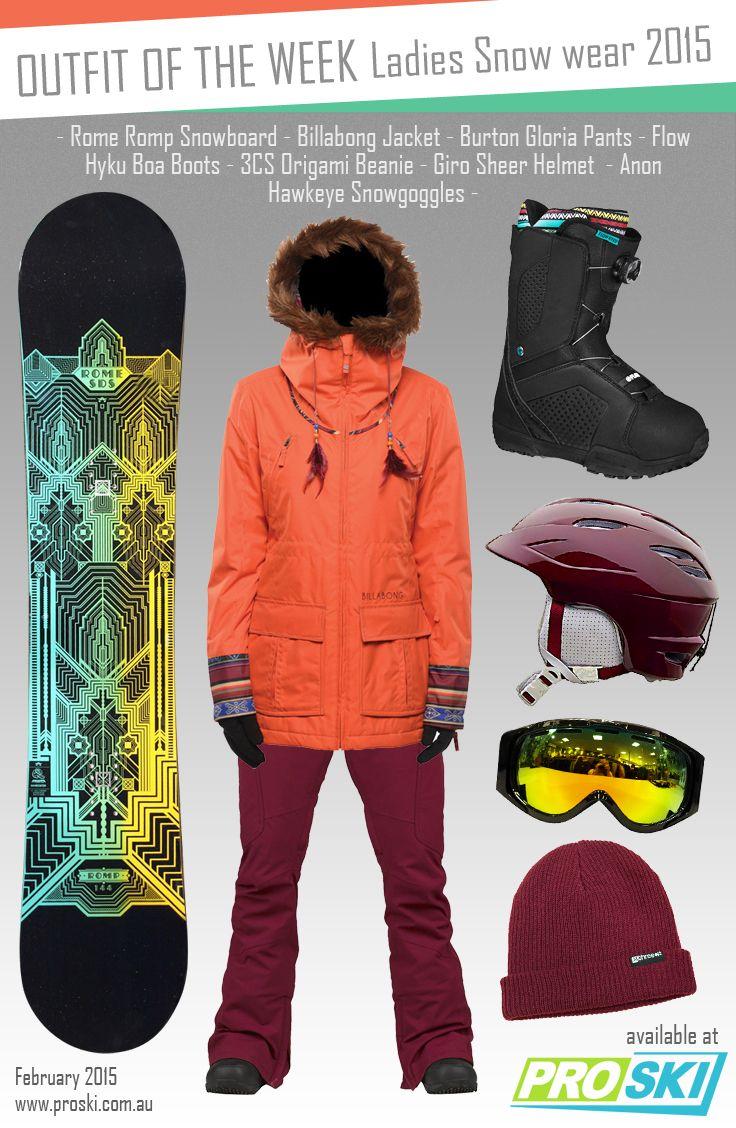 OUTFIT OF THE WEEK - Ladies Snow Wear 2015 available at PROSKI www.proski.com.au #snowtrends #snowgear #snowfashion #oufitoftheweek #burton #billabong #flow #anon #giro