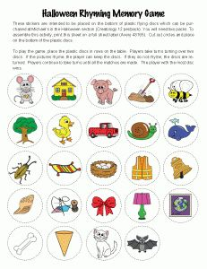 FREE rhyming pictures for creating your own memory game for your small group instruction