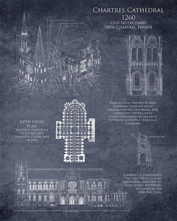 Chartres Cathedral Art Print By Sara H Sketch ArchitectureGothic ArchitectureFrench CathedralsBlueprint