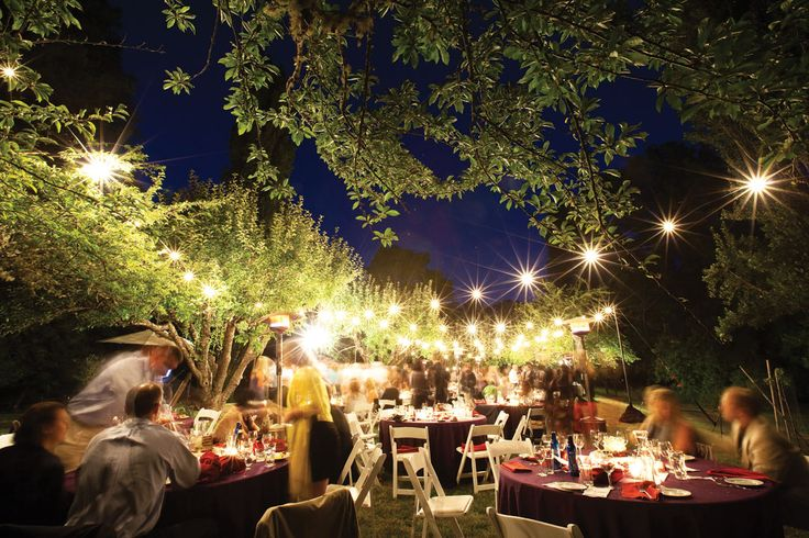 The twinkle lights helped decorate the outdoor reception.