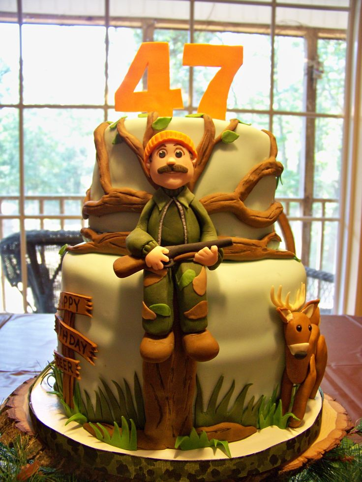 "A Deer Hunter's Birthday Cake - I made this cake for my husband who is an avid hunter. Still working on my ""people"" but I do think I'm improving! 8' tier - chocolate/ chocolate buttercream, 6' tier - chocolate/buttercream. Numbers are fondant/gumpaste, everything else is fondant."