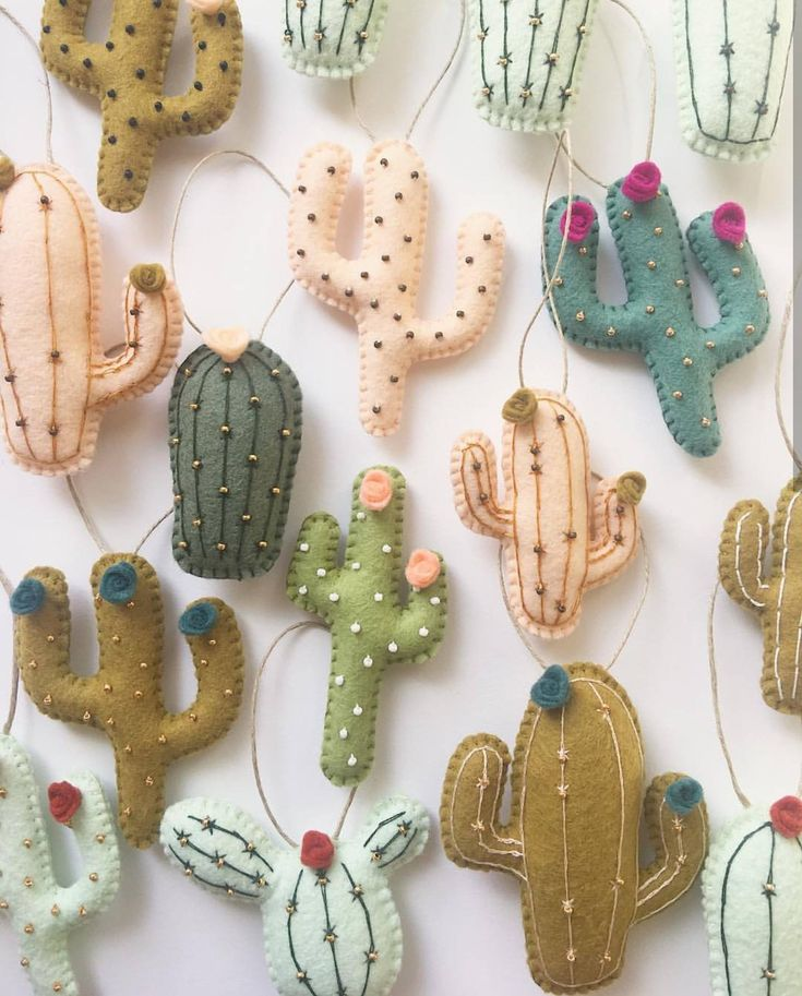 DIY mini cactus ornaments from felt