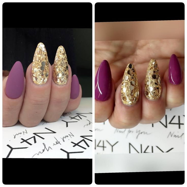 Glimmer gele negle med guld negle glimmer i forskellige slags negle glimmer og negle folie. Tag dit negle kursus hos nail4you og lær at lave disse negle.  Gold glitter nails with water decals. Matte nails in purple.
