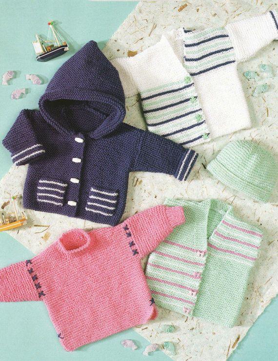 sweater jacket hat waistcoat and cardigan dk knitting pattern 99p pdf