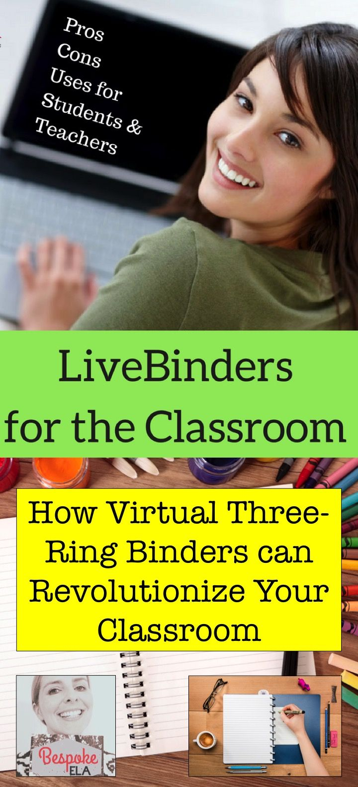 This blog by Bespoke ELA reviews LiveBinder.com, which is a virtual three-ring binder.  It has a multitude of uses, and this article includes ideas for how to use LiveBinder in the classroom along with pros and cons.  Great for use in elementary, middle, and high school across content areas-- and English Language Arts.  Tech Tips by Bespoke ELA