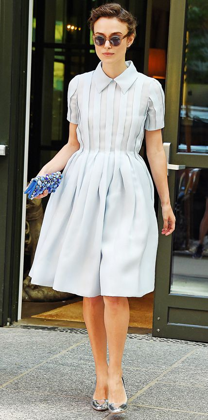 Keira Knightley was a darling in a pretty powder blue pleated Prada dress that she styled with a blue gem-encrusted clutch and silver mirrored pumps.