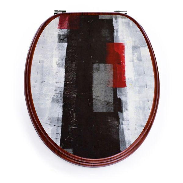 Weiteres - Holzoptik Toilettensitz mit Motiv Abstrakt Rot - ein Designerstück von banjado bei DaWanda