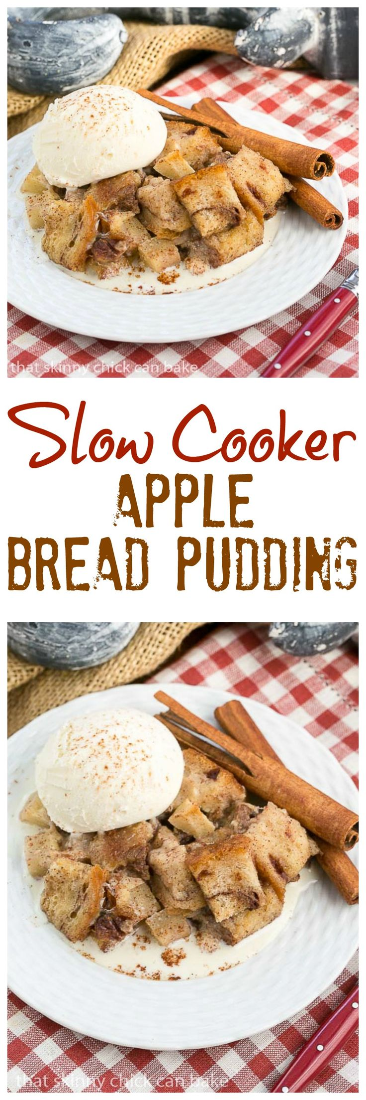 Slow Cooker Apple Pecan Bread Pudding | A nearly hands off way to make a delightful bread pudding dessert @lizzydo