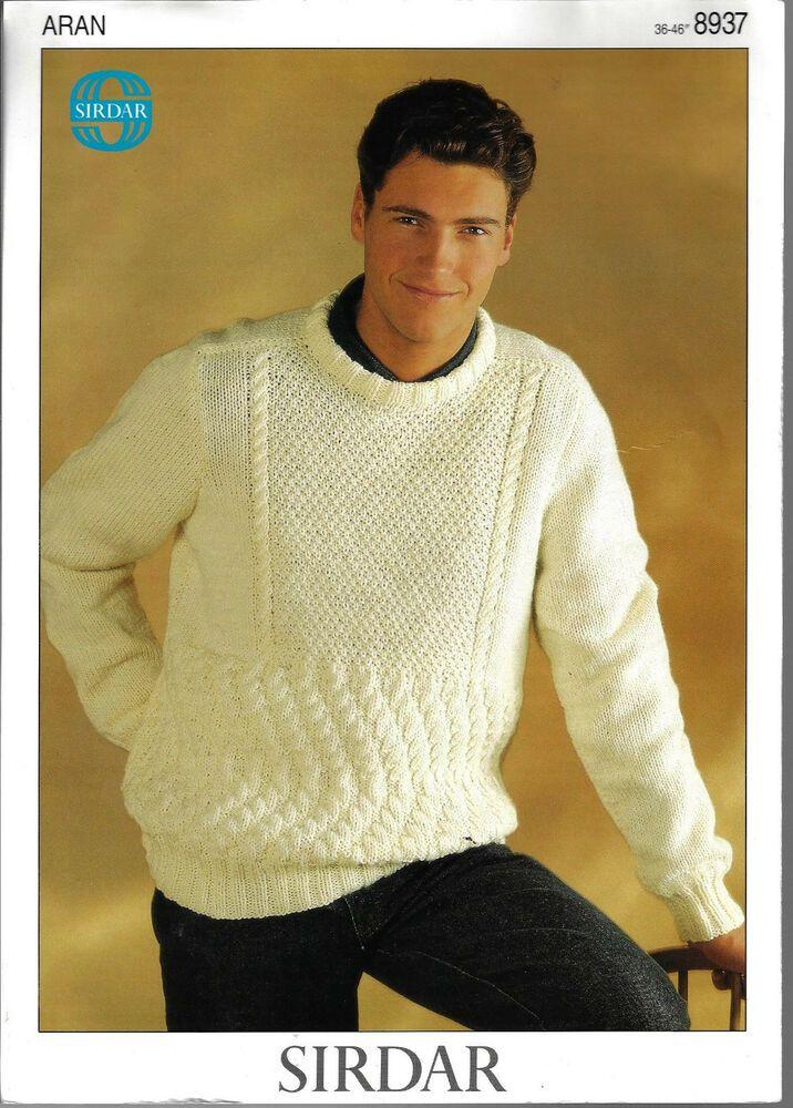"Men/'s Jumper Sweater Ladies Dress 36//46/"" Aran Knitting Pattern"