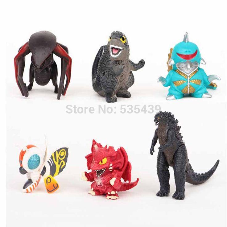 Godzilla 6pcs/set 5cm figure Action Figure Model toys SQ12017 80's hwd