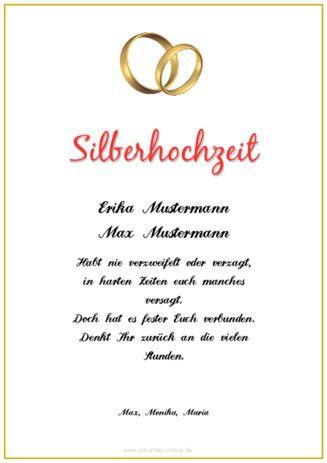 Beispiel Muster Urkunde Silberhochzeit Ringe Urkunden Pinterest