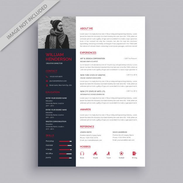 Professional Red And Black Resume Template Resume Design