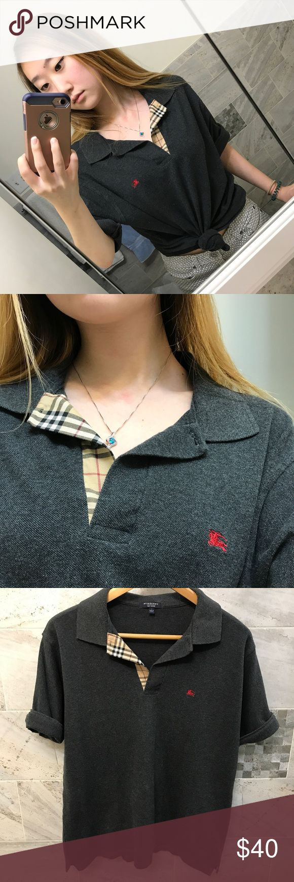 Burberry Gray V-Neck Polo Shirt So cute vintage Burberry polo shirt! Obsessed with the pattern on the collar and looks good tied at the bottom. It's a size large but can fit various sizes. Burberry Tops Tees - Short Sleeve