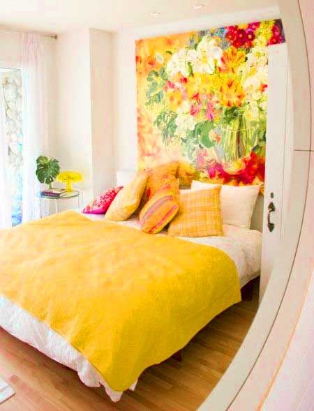 ⋴⍕ Boho Decor Bliss ⍕⋼ bright gypsy color & hippie bohemian mixed pattern home decorating ideas - bright yellows and hot pinks for the bedroom
