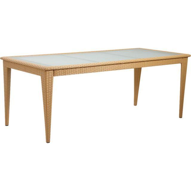 AUBRY GASPARD Table en polyrésine et verre | Mobilier de ...