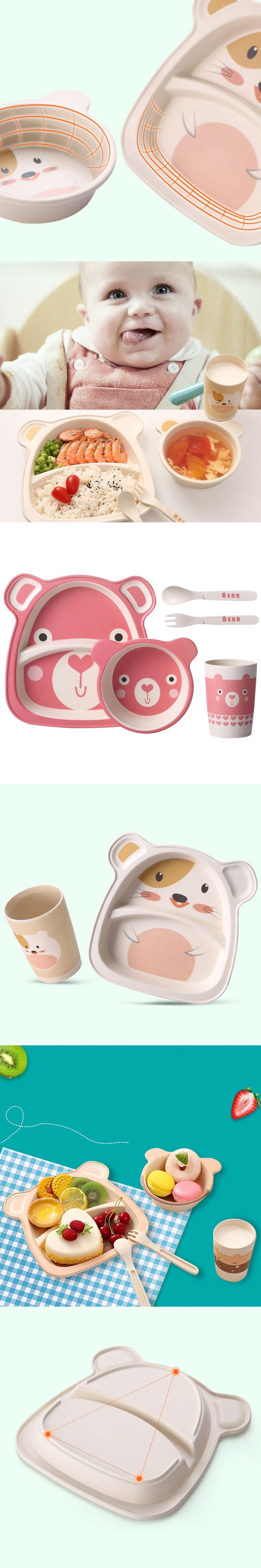 Fashion Kids Feeding Dishes Tableware Sets Children Bamboo Fiber Lunch Dinnerware Box With Compartment School Food Container H1