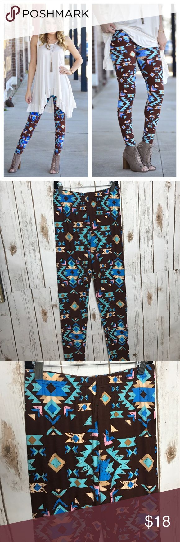 Aztec Print Leggings Soft knit leggings. Soft brushed knit leggings. 92% polyester 8% spandex. Elastic band ( no yoga band) One size fits up to size 12 comfortably. Gali's Fashion Pants Leggings