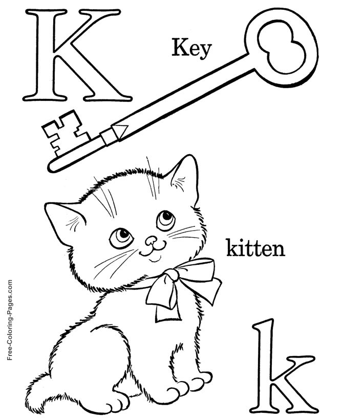 alphabet coloring sheets k is for kitten