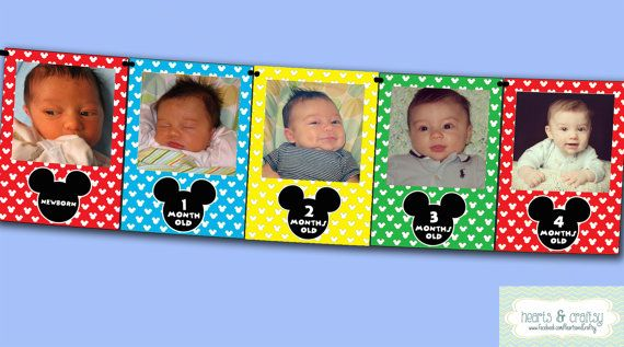 Mickey Mouse Clubhouse First Year Photo Banner by HeartsandCraftsy