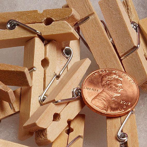 Mini wooden clothespins craft clothespins by PartySurprise on Etsy